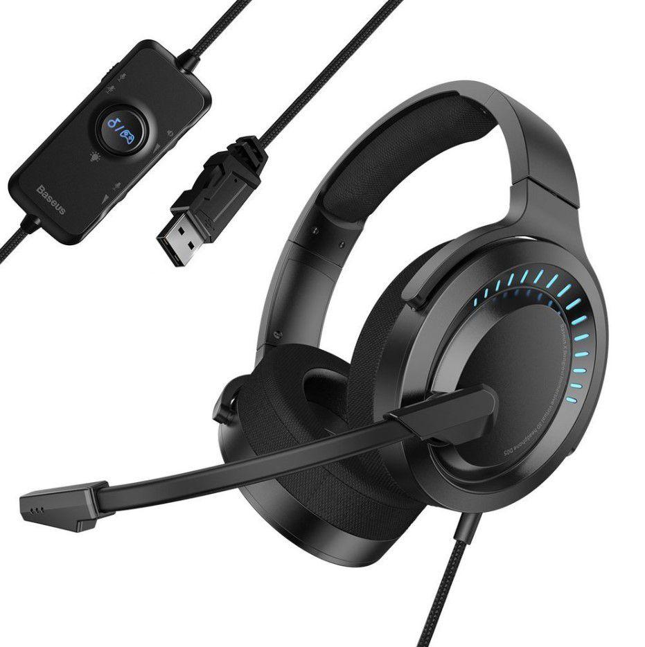 PC žaidimų ausinės su mikrofonu USB/USB-C, juodos