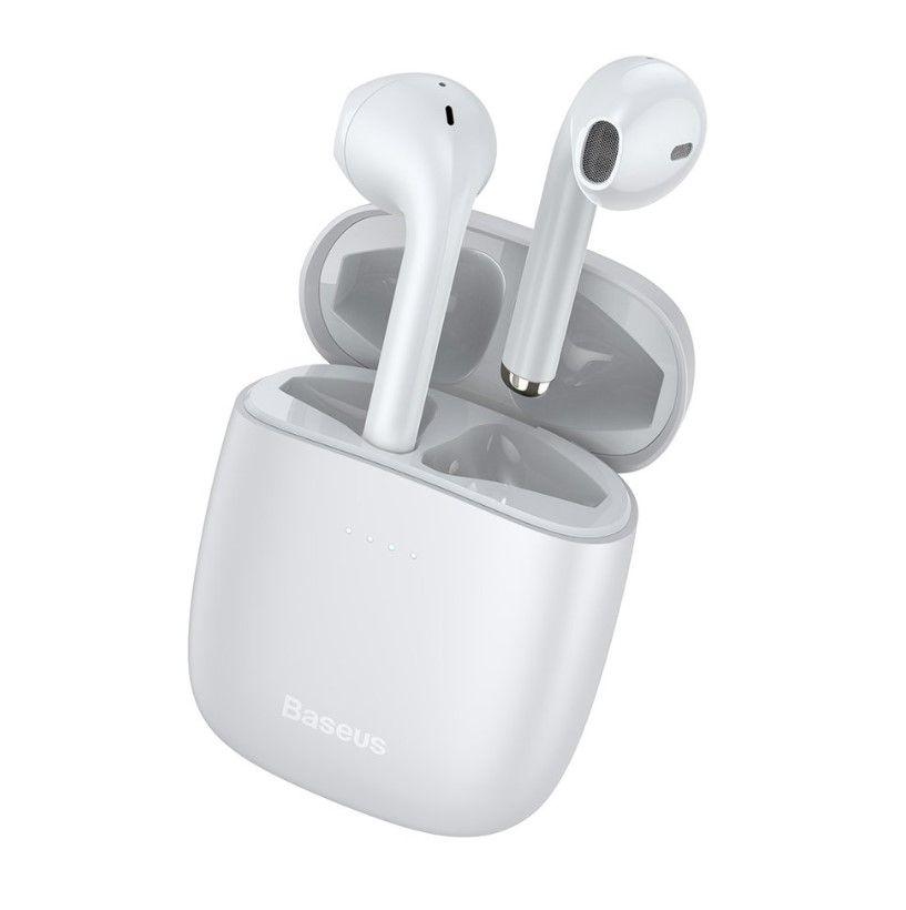 Belaidės Bluetooth ausinės True Wireless W04 su įkrovimo dėklu, baltos
