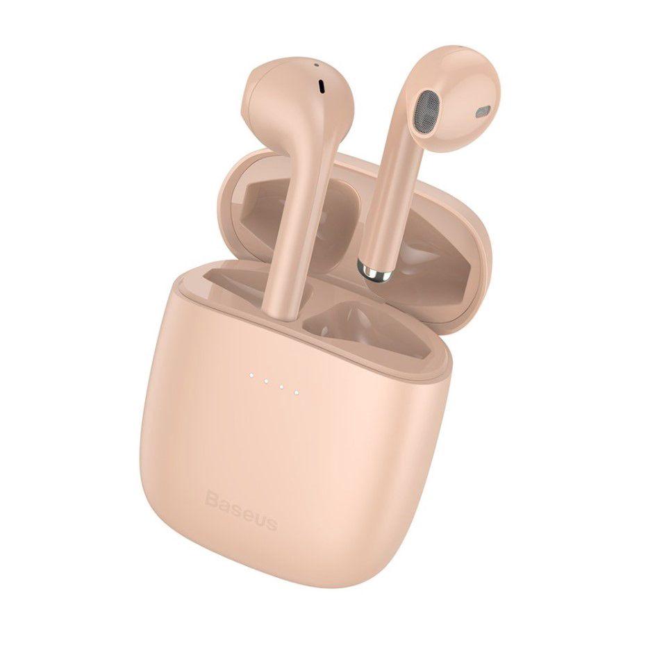 Belaidės Bluetooth ausinės True Wireless W04 Pro su įkrovimo dėklu, rožinės