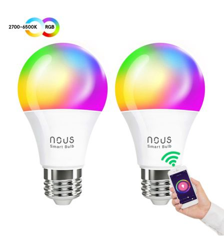 Lemputė LED E27, 230V, 9W, 810lm, 2700K - 6500K, RGB, išmanioji Wi-Fi, valdoma programėle, TUYA / Smart Life, P3 (2vnt. kompl.), NOUS