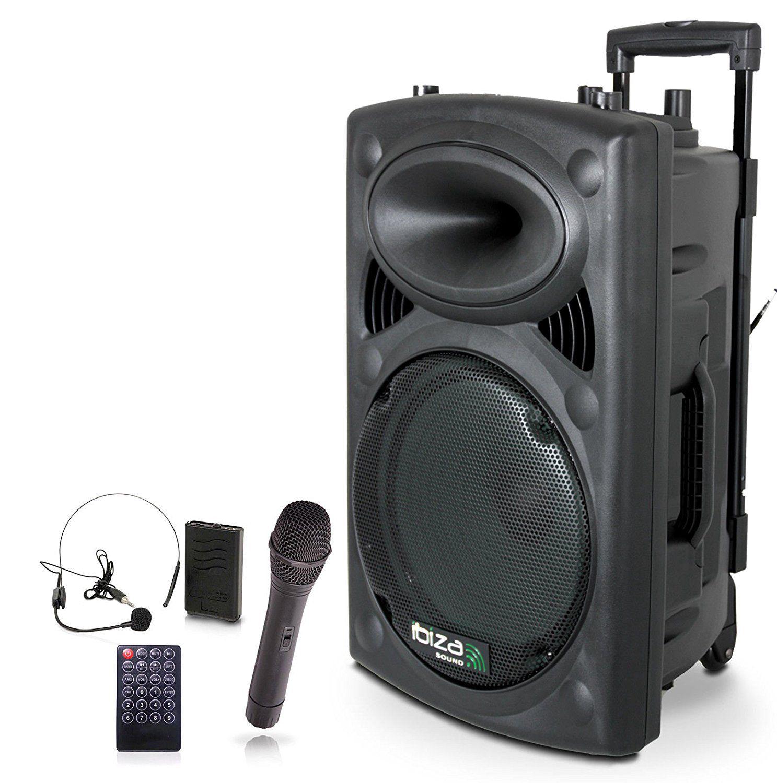"""Nešiojama garso sistema 15"""" 800W (400W RMS) su 2 bevieliais UHF mikrofonais ir FM imtuvu, Ibiza"""