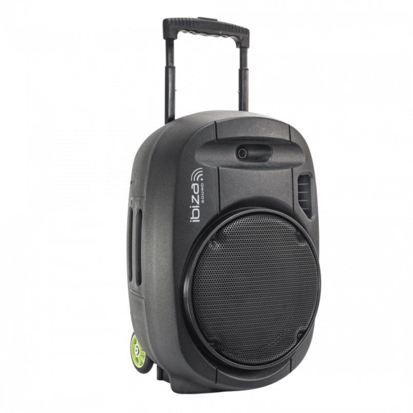 """Nešiojama garso sistema 15"""" 800W (400W RMS) su 2 bevieliais VHF mikrofonais"""