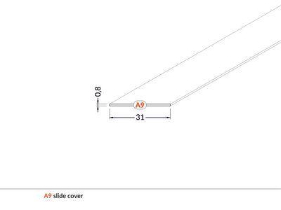 LED profilio VARIO30 dangtelis, įstumiamas, baltas, 2m, TOPMET