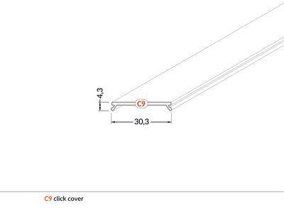 LED profilio VARIO30 dangtelis, užspaudžiamas CLICK, baltas, 2m, TOPMET