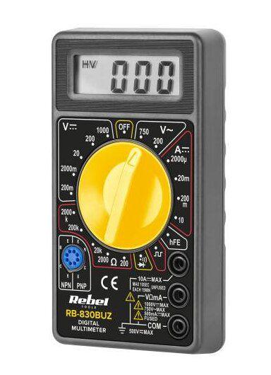 Multimetras skaitmeninis RB830 BUZ su garsiniu signalu CAT II 100 V UNI-T