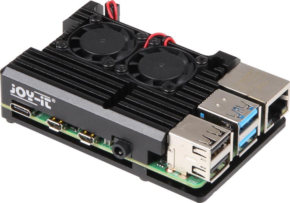 Korpusas mini kompiuteriui Raspberry Pi 4 su radiatoriumi ir ventiliatoriais JOY-IT