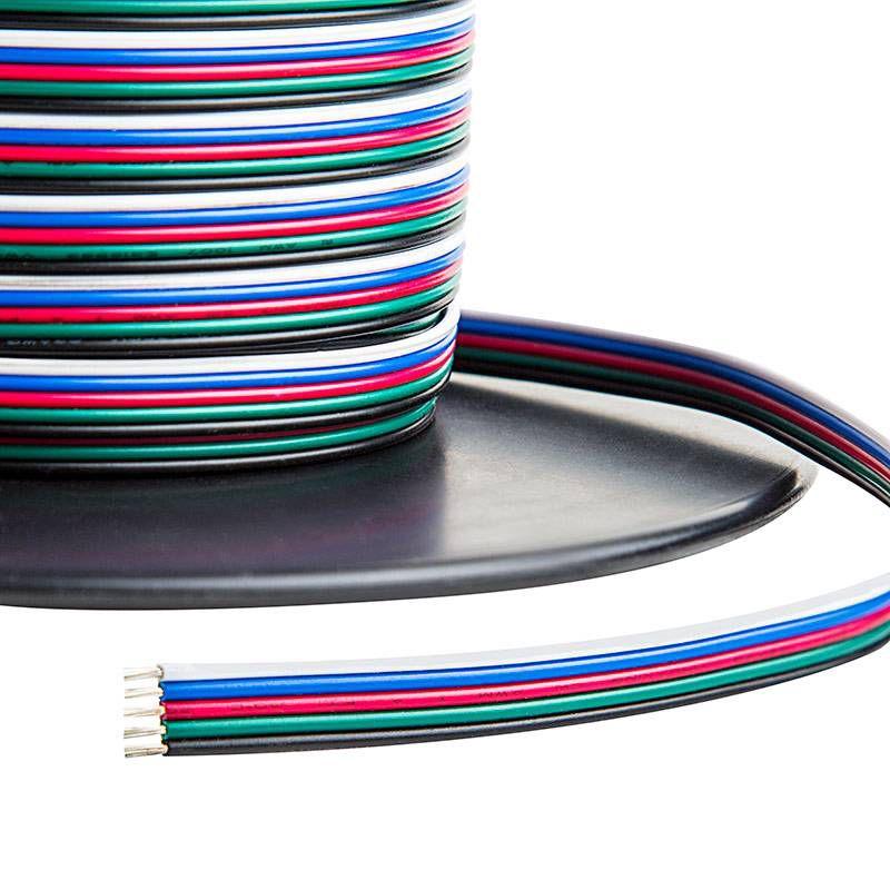 Kabelis plokščias 5x0.3mm² GRBWBL, spalvotas LED RGBW juostai