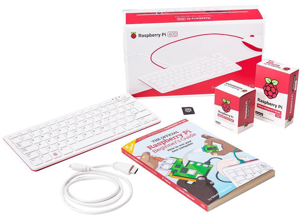 Mini kompiuteris RPI400 komplektas su pele, maitinimo šaltiniu, HDMI kabeliu