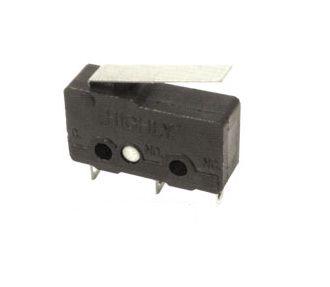 Mikrojungiklis ON-(ON) nefiks, 3k. 3A/250VAC, SPDT 19.8x6.4x10.2mm, lituojami kontaktai, su 17mm svirtele, HIGHLY