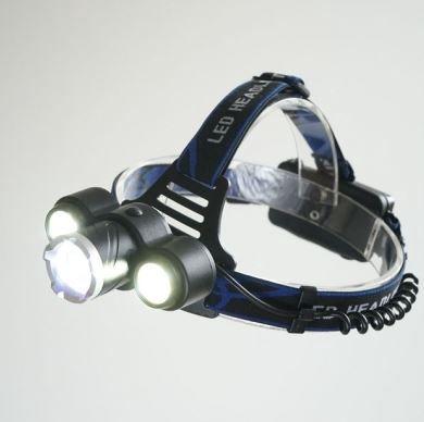 Žibintuvėlis ant galvos įkraunamas 10W LED + 2 papildomi LED
