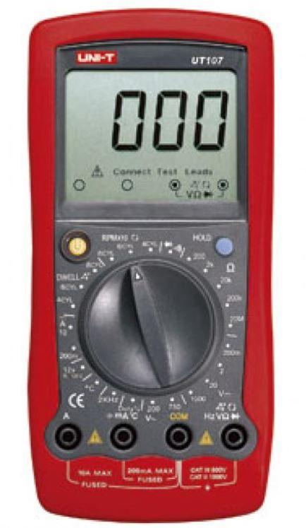 Multimetras UT107 CATIII, CATII su dažnio, temperatūros matavimu, nuolatinės grandinės, diodų tikrinimu UNI-T