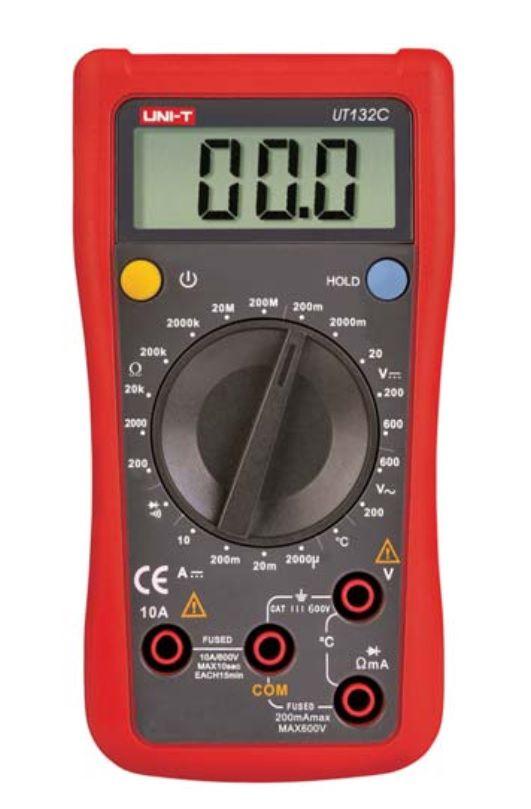 Multimetras UT132C CATII su temperatūros matavimu, nuolatinės grandinės, diodų tikrinimu UNI-T