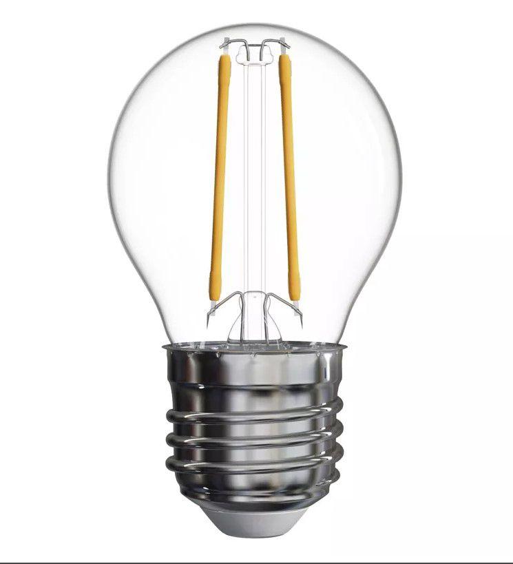 Lemputė E27 230V G45 2W, FILAMENT, šiltai balta 2700K, stiklinė, EMOS