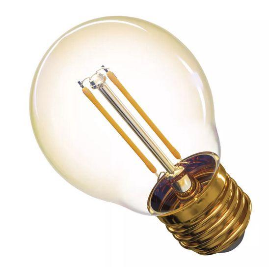Lemputė E27 230V G45 2W, FILAMENT, šiltai balta 2200K, stiklinė, EMOS