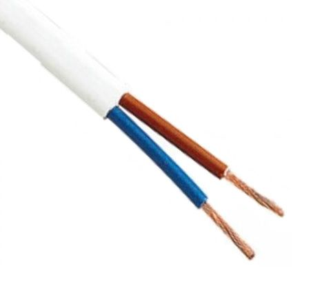 Kabelis 2x1.0mm² baltas (daugiagyslis, apvalus) BVV-LL