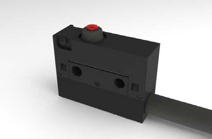 Mikrojungiklis ON-(ON) nefiks, 3k. 6A/250VAC, SPDT 20x17.5x6.4 mm, su 50mm laidais be svirtelės, IP67 HIGHLY