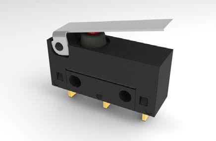 Mikrojungiklis ON-(ON) nefiks, 3k. 6A/250VAC, SPDT 20x17.5x6.4mm, lituojamais kontaktais, su svirtele, IP67 HIGHLY