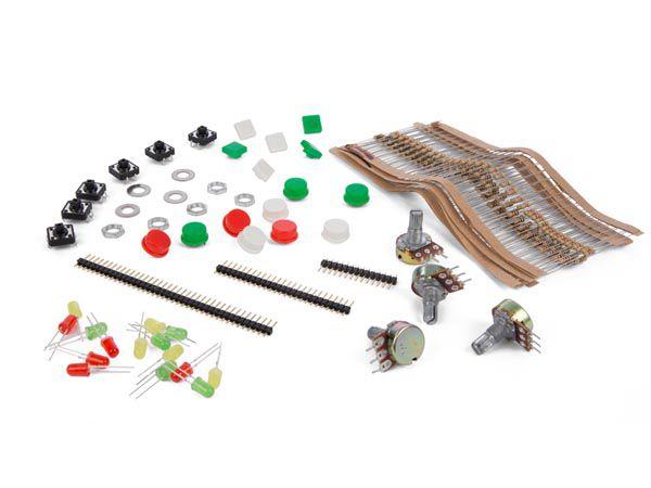 Įvairių komponentų rinkinys su plastikine dėžute