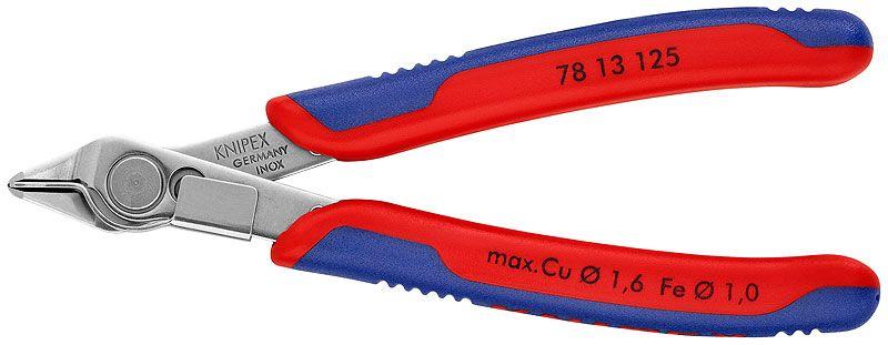 Knaibles 78 13 125 Cu max Ø1,6mm pulēts tērauds max 0.3mm, ar fiksatoru KNIPEX