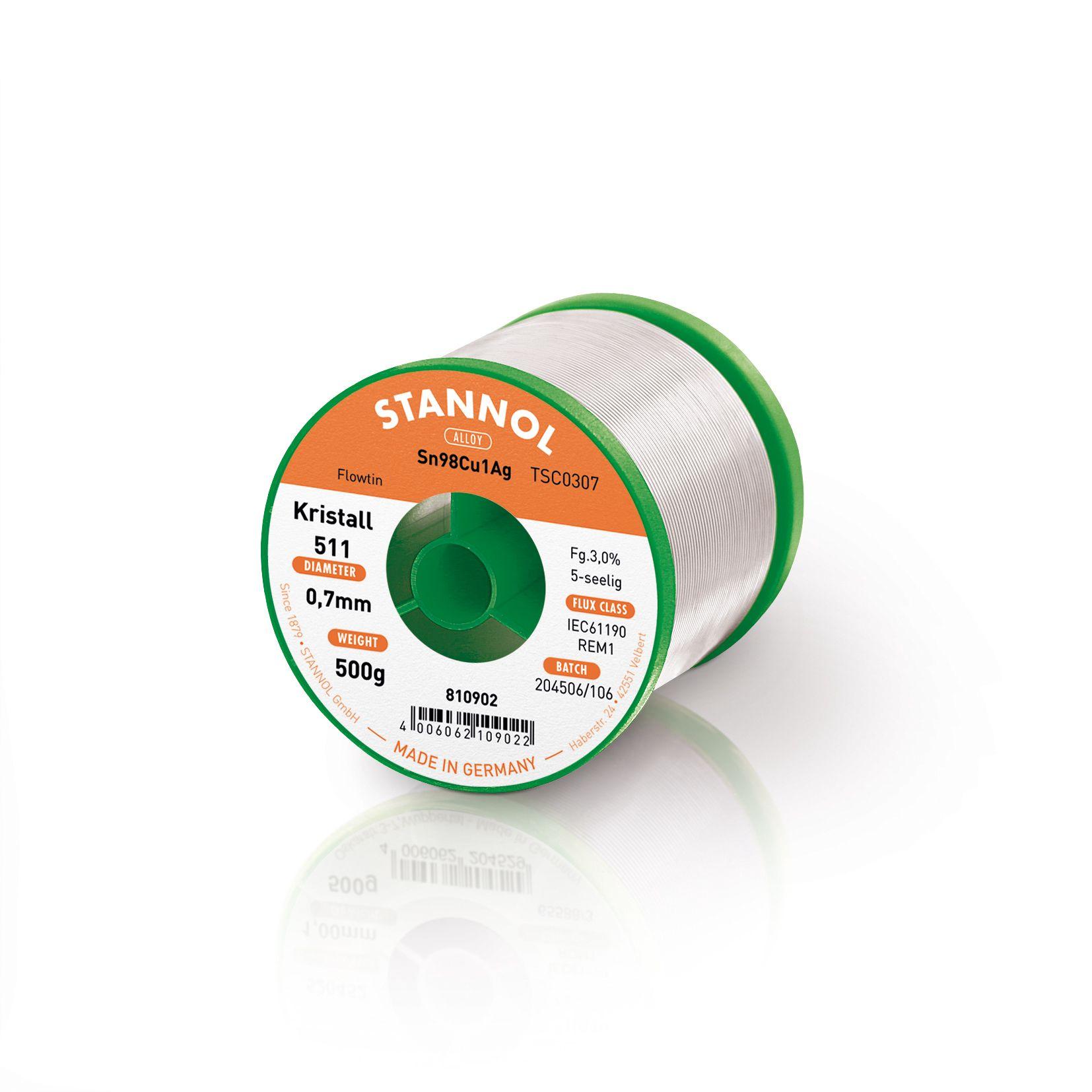 Solder wires Sn99Ag0.3Cu0.7 0.7mm 500g with flux Stannol