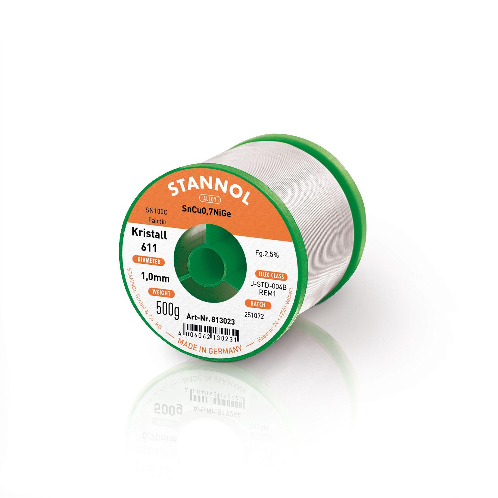 Solder wire SN100C - SnCu0,7NiGe 1.00mm 500g with flux Stannol