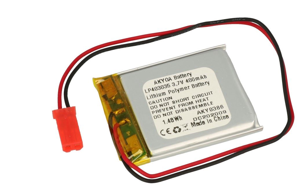 LiPo cell 3.7V 400mAh 4.0x30x35mm with PCM, with JST terminal (LP403035) AKYGA