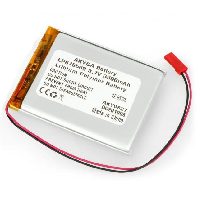 LiPo cell 3.7V 3500mAh 6.7x55x68m with PCM, with JST termina (LP675568) AKYGA
