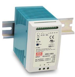Impulsu barošanas bloks ar UPS funkciju, 27.6V 3.5A, lādēšana 27.6V 1.25A,montējams uz DIN sliedes Mean Well