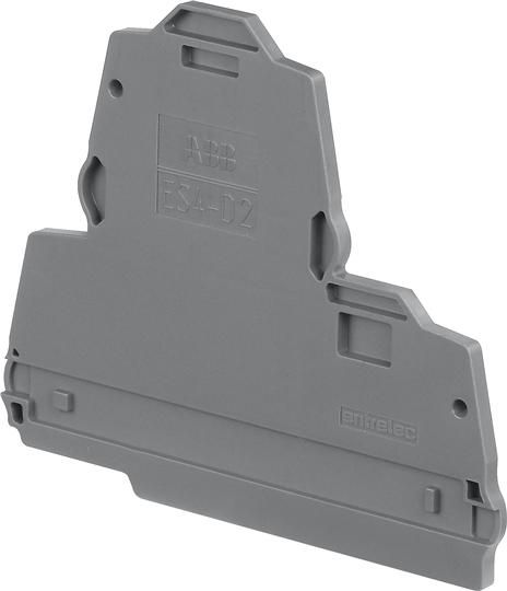 End section for double bridge screw clamp terminal block, grey ABB