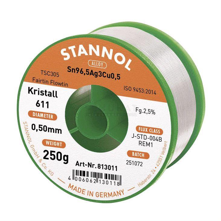 Solder wire Sn96,5/Ag3/Cu0,5 0.50mm 250g with flux Stannol