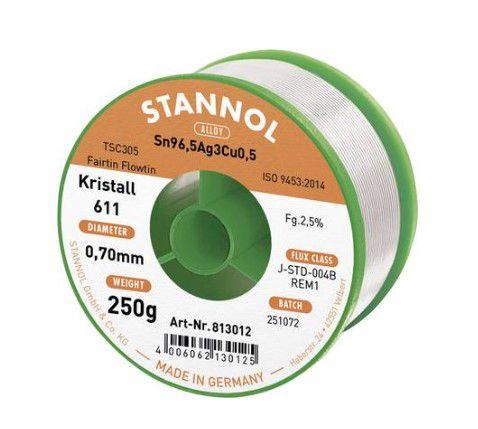 Solder wire Sn96,5/Ag3/Cu0,5 0.70mm 250g with flux Stannol
