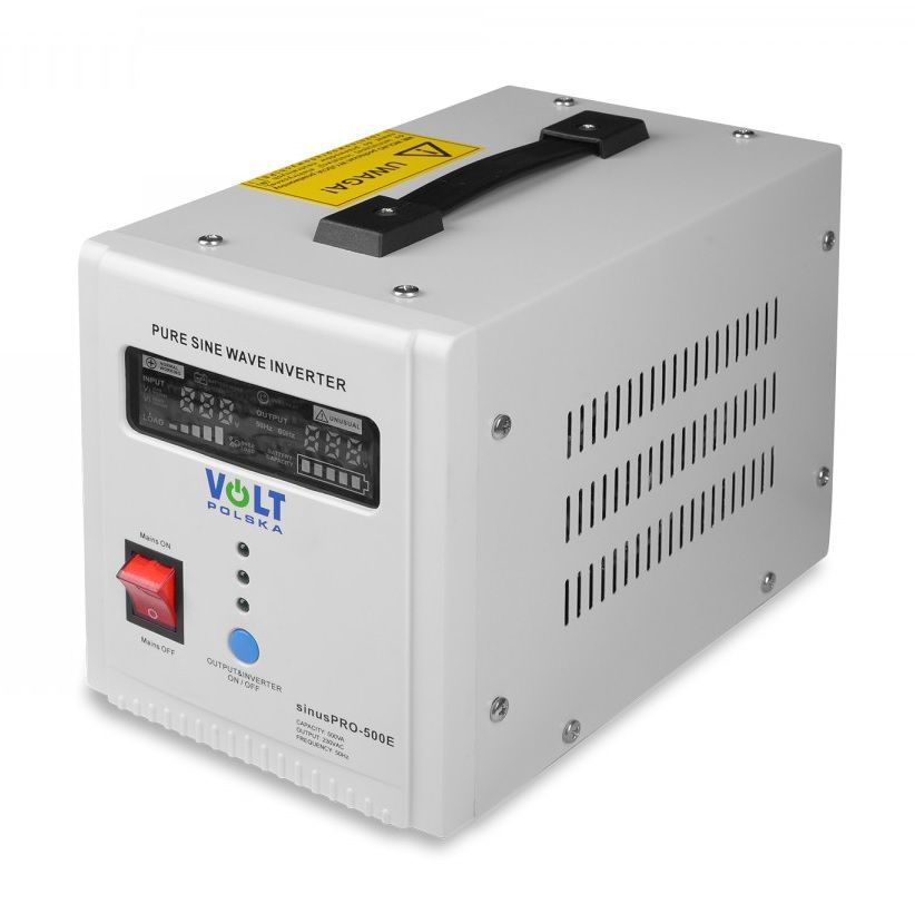 12V/230V 500W Power inverter with sinusoidal output voltage and charging function, white
