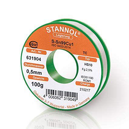 Solder wires Sn99Cu1 0.5mm 100g with flux Stannol