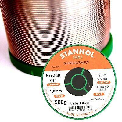 Solder wires Sn99Ag0.3Cu0.7 1.0mm 500g with flux Stannol