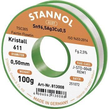 Solder wires Sn96.5Ag3Cu0.5 0.5mm 100g with flux Stannol