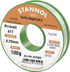 Solder wires Sn96.5Ag3Cu0.5 0.7mm 100g with flux Stannol