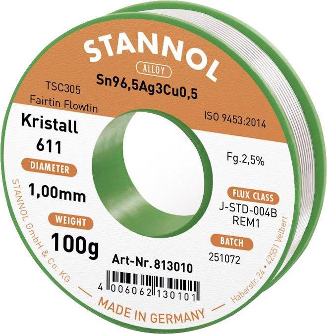 Solder wires Sn96.5Ag3Cu0.5 1.0mm 100g with flux Stannol