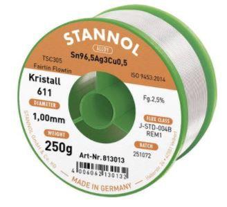 Lodalva Sn96,5/Ag3/Cu0,5 1.00mm 250g ar fluksi Stannol